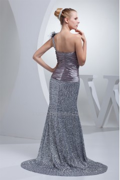 Trumpet/Mermaid Pleats One-Shoulder Sequined Material Prom/Formal Evening Dresses 02020242
