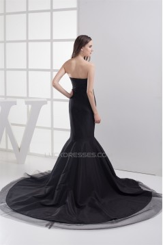 Trumpet/Mermaid Sweetheart Pleats Long Black Prom/Formal Evening Dresses 02020243
