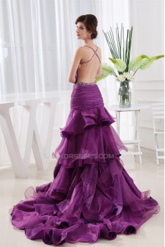 Puddle Train Beading A-Line Straps Satin Prom/Formal Evening Dresses 02020245