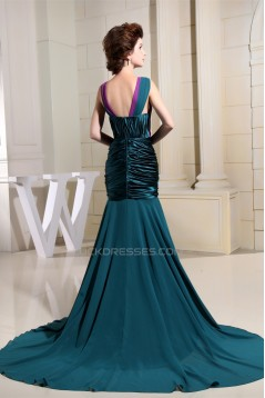 Puddle Train Ruffles Chiffon Silk like Satin Prom/Formal Evening Dresses 02020246