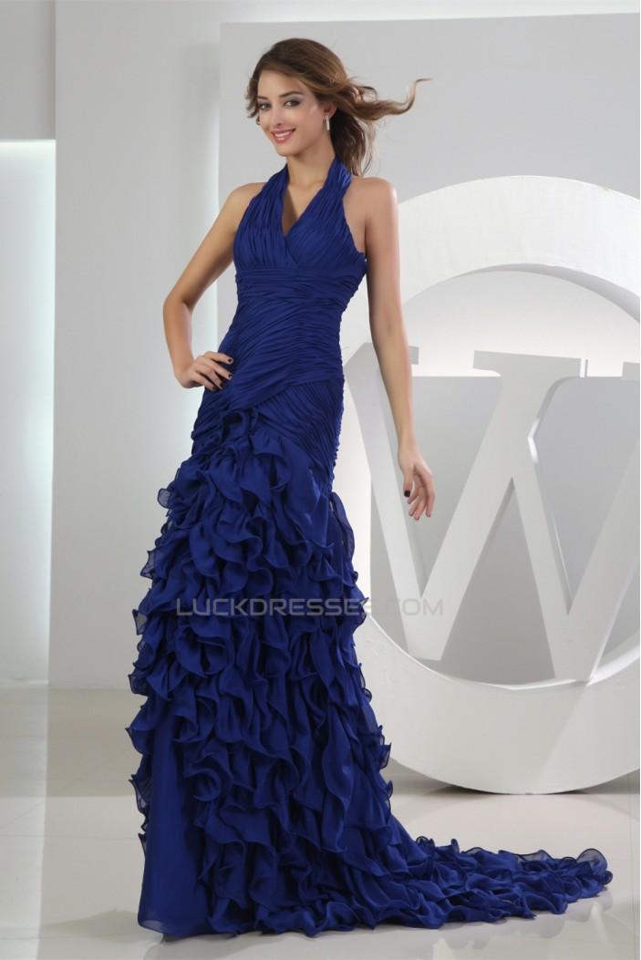Puddle Train Sleeveless A-Line Chiffon Long Blue Prom/Formal Evening Dresses 02020248