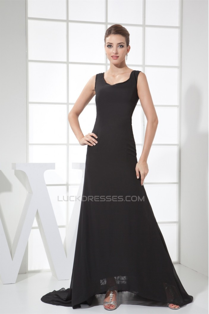 A-Line Sleeveless Strapless Long Black Chiffon and Lace Prom/Formal Evening Dresses 02020249