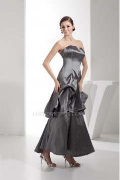 Ruched Taffeta Silk like Satin Netting Ankle-Length Prom/Formal Evening Dresses 02020252