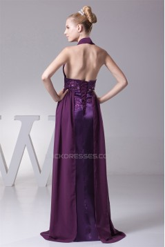 A-Line Ruffles Sleeveless Halter Chiffon Silk like Satin Prom/Formal Evening Dresses 02020253