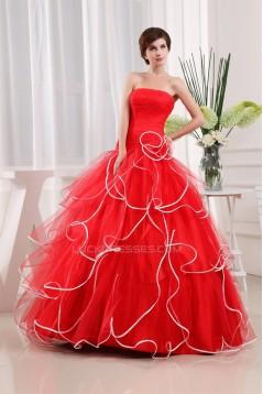 Ball Gown Ruffles Satin Fine Netting Floor-Length Prom/Formal Evening Dresses 02020254