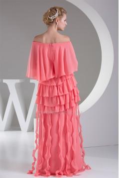 Ruffles Chiffon Portrait 3/4 Length Prom/Formal Evening Dresses 02020258