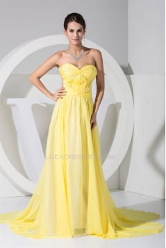 A-Line Ruffles Chiffon Long Yellow Prom/Formal Evening Dresses 02020259