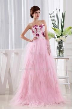Ruffles Sleeveless Fine Netting Long Pink Prom/Formal Evening Dresses 02020261