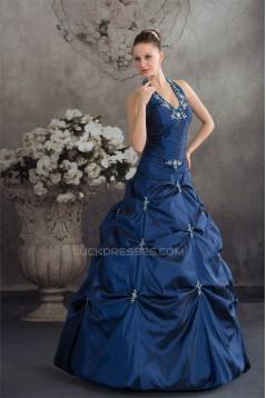 Ball Gown Halter Ruffles Sleeveless Taffeta Prom/Formal Evening Dresses 02020262