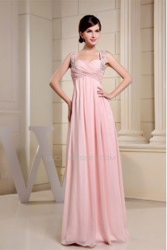 Empire Sleeveless Long Pink Chiffon Floor-Length Prom Evening Maternity Formal Evening Dresses 02020264