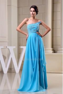 A-Line Strapless Beading Long Blue Floor-Length Prom Evening Formal Dresses 02020265