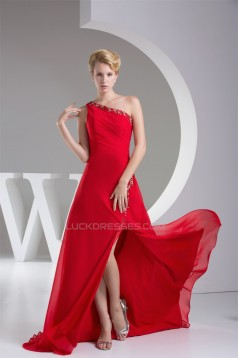 A-Line Beaded Appliques Long Red Prom Evening Formal Bridesmaid Dresses 02020266