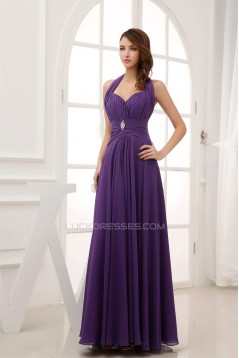 A-Line Halter Long Purple Chiffon Prom/Formal Evening Bridesmaid Dresses 02020268