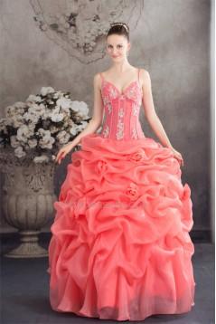 Ball Gown Satin Lace Organza Spaghetti Straps Princess Prom/Formal Evening Dresses 02020273