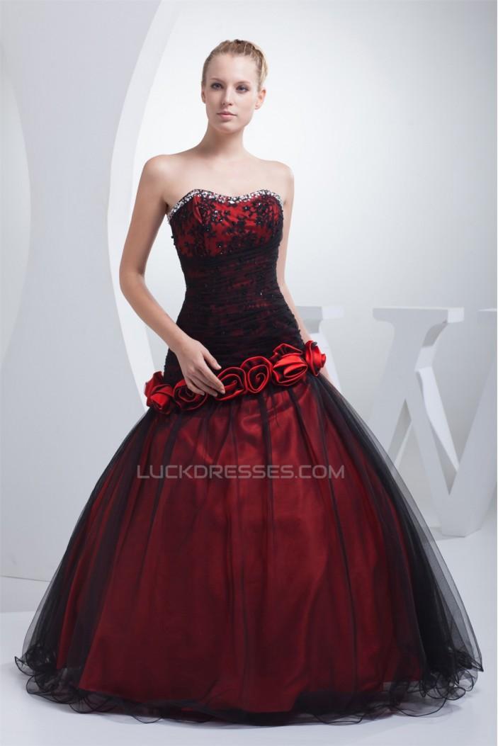 Ball Gown Beaded Strapless Fine Netting Floor-Length Prom/Formal Evening Dresses 02020275