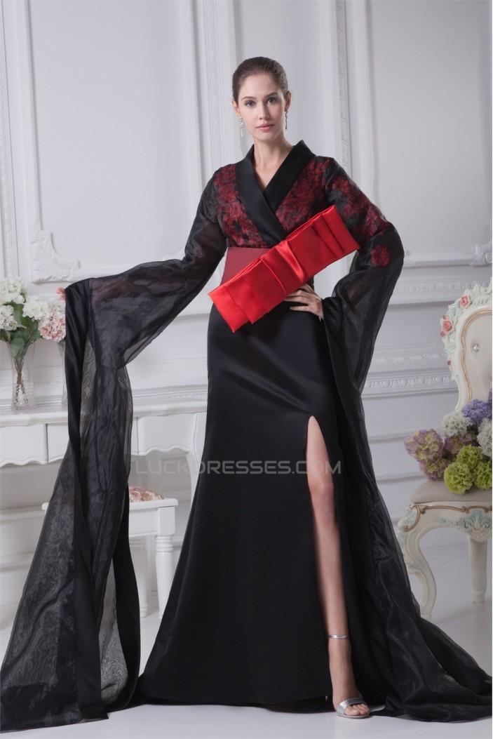 Long Black V-Neck Bows Prom/Formal Evening Dresses 02020276