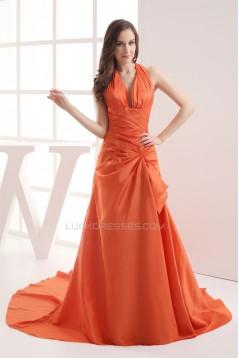 A-Line Halter Pick Ups Court Train Long Prom/Formal Evening Dresses 02020278