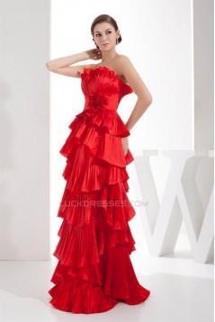 Satin Taffeta Brush Sweep Train Strapless Long Red Prom/Formal Evening Dresses 02020280