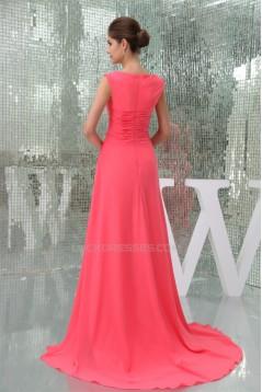 Scoop Chiffon Brush Sweep Train Long Prom/Formal Evening Dresses 02020282