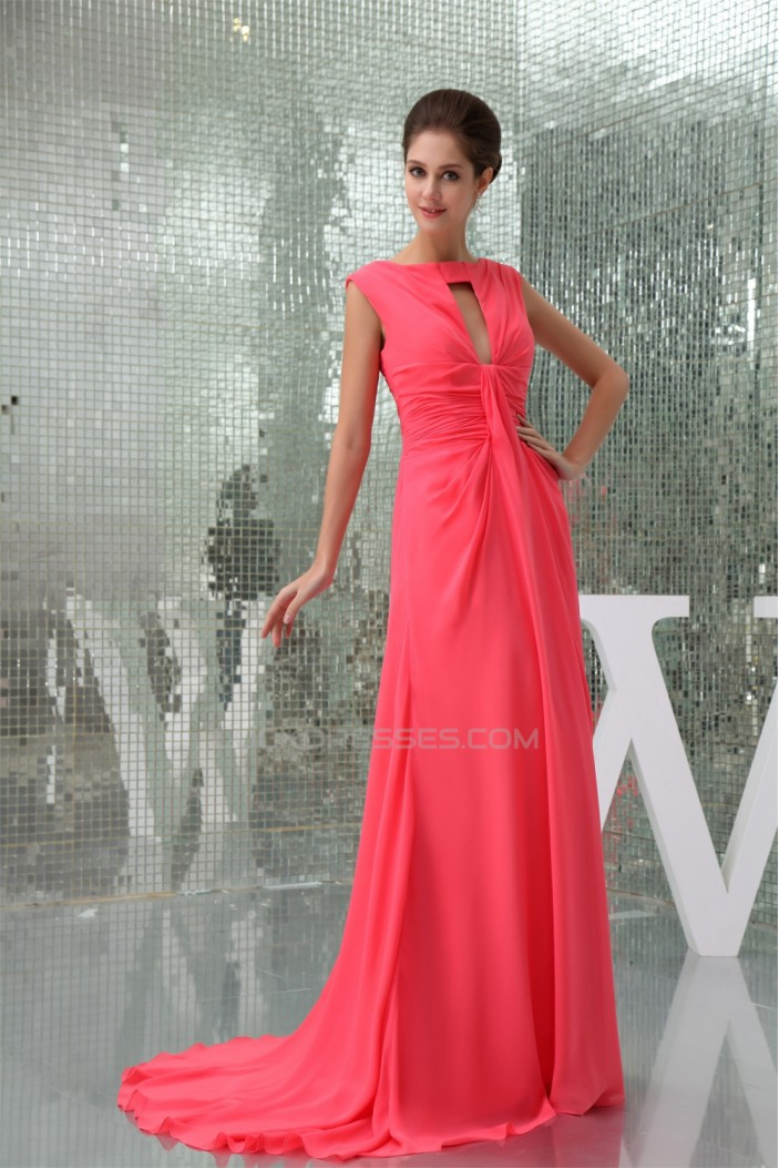 Scoop Chiffon Brush Sweep Train Long Prom/Formal Evening Dresses 02020282