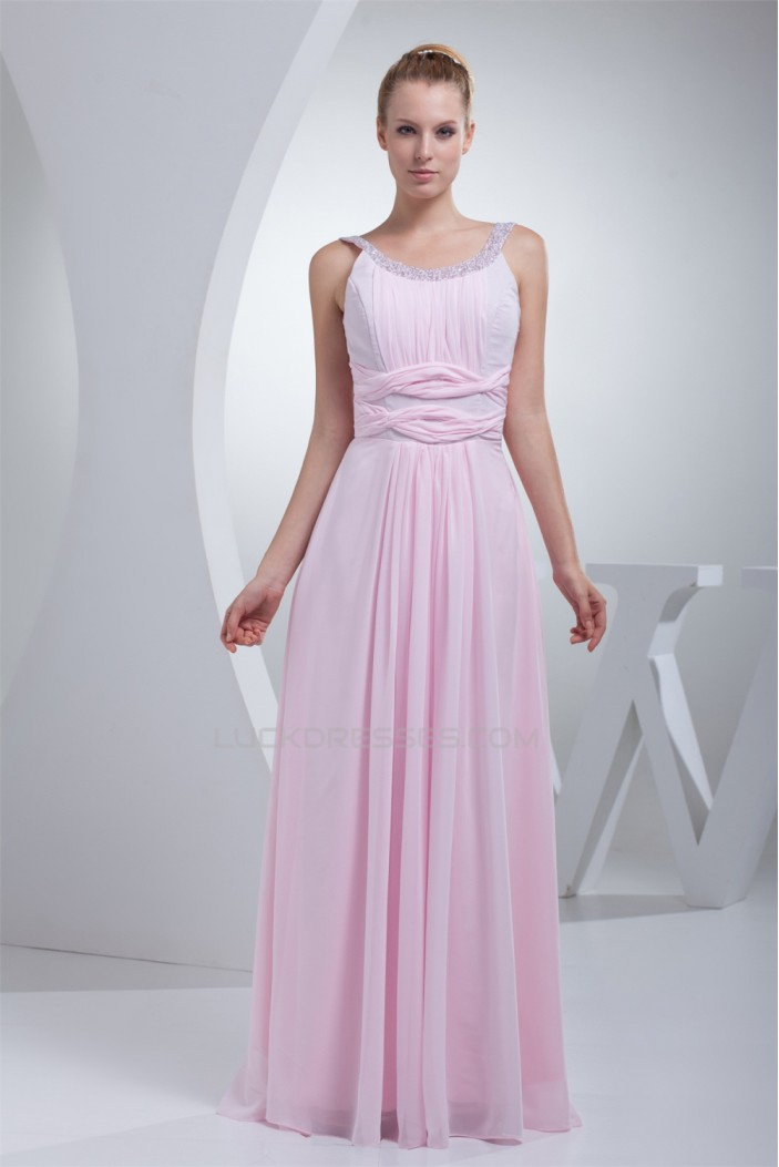 Scoop Floor-Length Ruffles Chiffon Long Pink Sequined Material Prom/Formal Evening Dresses 02020283
