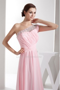 Elegant Sheath/Column Beading Chiffon Long Pink Prom Evening Formal Bridesmaid Dresses 02020284