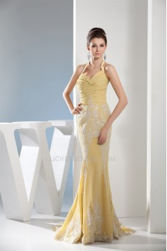 Trumpet/Mermaid Halter Sleeveless Brush Sweep Train Long Prom/Formal Evening Dresses 02020285