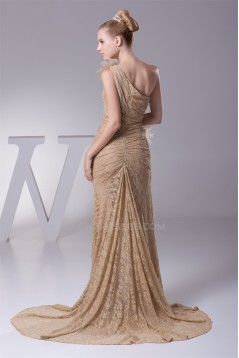 Sheath/Column Brush Sweep Train Pleats Lace Long Prom/Formal Evening Dresses 02020288