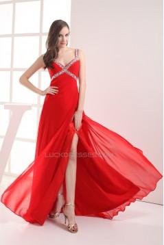 Sheath/Column Brush Sweep Train Sleeveless Long Red Chiffon Prom/Formal Evening Dresses 02020289