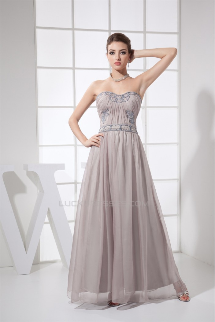 A-Line Strapless Chiffon Ruched Long Prom/Formal Evening Dresses 02020290