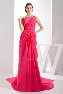 Sheath/Column Chiffon Sleeveless One-Shoulder Long Prom Evening Bridesmaid Dresses 02020291