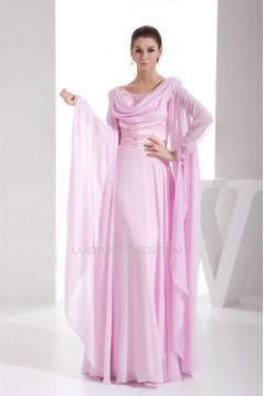 Sheath/Column Floor-Length Long Pink Chiffon Prom/Formal Evening Dresses 02020294