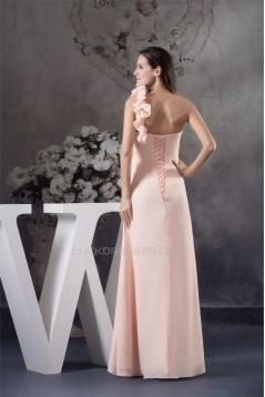 Sheath/Column Handmade Flowers Chiffon One-Shoulder Long Prom/Formal Evening Bridesmaid Dresses 02020297