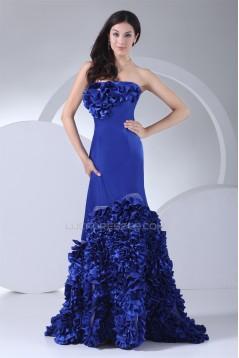 Long Blue Strapless Ruffles Prom/Formal Evening Dresses 02020300