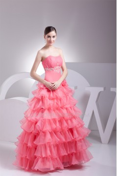 Ball Gown Organza Floor-Length Prom/Formal Evening Dresses 02020301