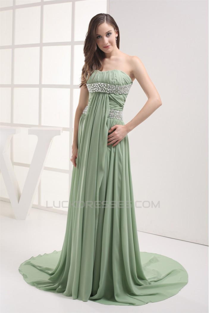 Sheath/Column Sleeveless Chiffon Long Prom Evening Formal Dresses 02020303