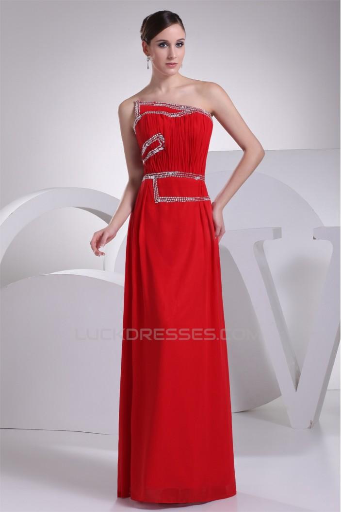 Sheath/Column Strapless Beading Long Red Chiffon Prom/Formal Evening Dresses 02020308