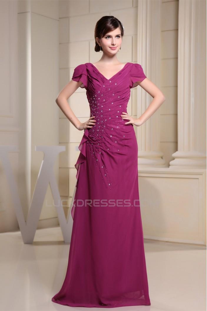 Cap Sleeve Beading Chiffon V-Neck Long Evening Formal Mother of The Bride Dresses 02020309