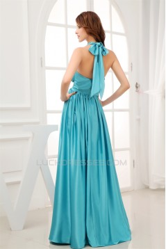 Silk like Satin A-Line Floor-Length Halter Ruffles Prom/Formal Evening Bridesmaid Dresses 02020310