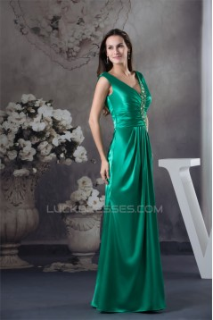 Silk like Satin Beading Floor-Length V-Neck Prom/Formal Evening Dresses 02020313