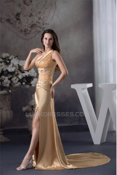 Silk like Satin Beading Sleeveless One-Shoulder Prom/Formal Evening Dresses 02020314