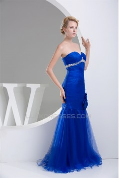 Trumpet/Mermaid Sweetheart Sleeveless Long Blue Prom/Formal Evening Dresses 02020315