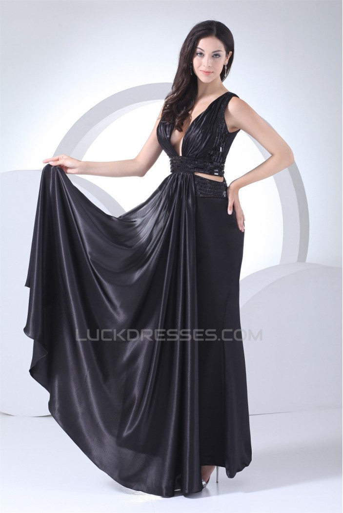 Silk like Satin Sleeveless Beading Brush Sweep Train Long Black Prom/Formal Evening Dresses 02020318