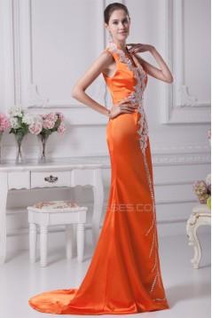 Elegant Silk like Satin Sleeveless V-Neck Mermaid/Trumpet Prom/Formal Evening Dresses 02020320