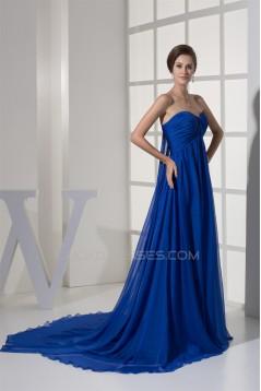 A-Line Sweetheart Long Blue Chiffon Prom/Formal Evening Dresses Maternity Dresses 02020322