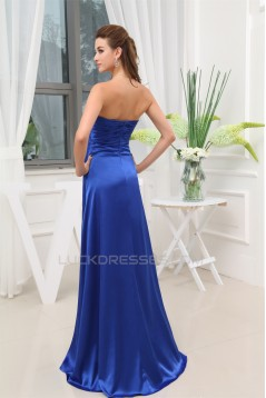 A-Line Silk like Satin Beading Long Blue Prom/Formal Evening Dresses 02020325