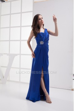 Sleeveless A-Line Silk like Satin Brush Sweep Train Long Blue Prom/Formal Evening Dresses 02020326