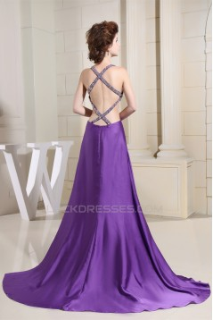 A-Line Straps Beaded Long Purple Prom/Formal Evening Dresses 02020328