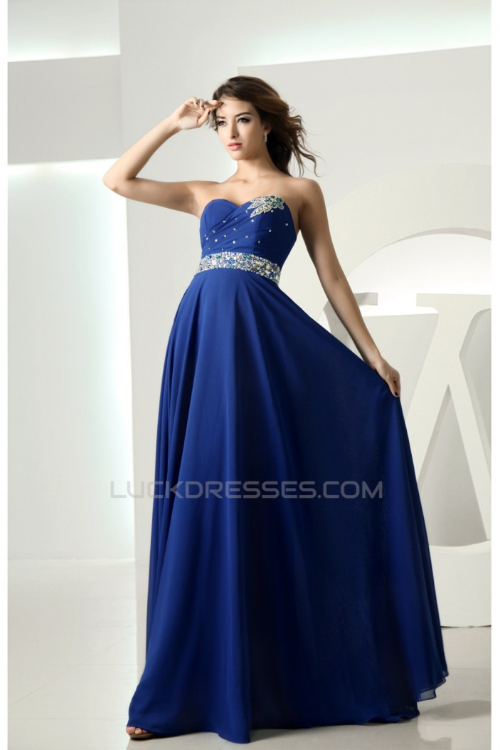 A-Line Sweetheart Beaded Floor-Length Blue Prom/Formal Evening Dresses 02020329