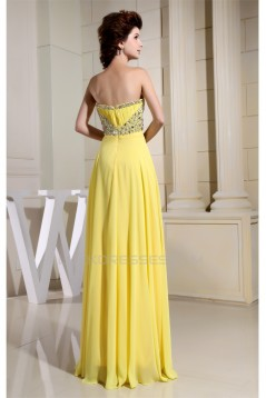 A-Line Chiffon Sleeveless Beading Floor-Length Yellow Prom/Formal Evening Dresses 02020332